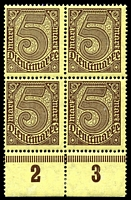 Lot 3986 [3 of 10]:1920 Numerals Without '21' in Corners: Mi #23-33 set of 10, excludes 20pf violet-ultramarine, in blocks of 4, Cat €60, most are marginal with 2**/2*, only 1 unit of 2m is ** & all units of 10pf are *.