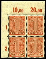 Lot 3986 [1 of 10]:1920 Numerals Without '21' in Corners: Mi #23-33 set of 10, excludes 20pf violet-ultramarine, in blocks of 4, Cat €60, most are marginal with 2**/2*, only 1 unit of 2m is ** & all units of 10pf are *.