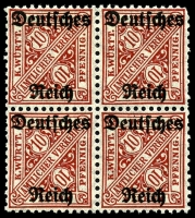 Lot 3987:1920 Wurttemberg 'Amtlichter Verkehr' Opt 'Deutches/Reich': Mi #58 10pf block of 4, 3**/1*, Cat €24.
