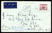 Lot 865 [1 of 2]:1940 Australia - New Zealand AAMC #900 5d Merino on plain airmail cover cancelled with 'ROCKDALE/245PM/1MAY/1940/N.S.W. AUST.' machine, to Wellington, NZ, sent by 1st flight of Trans-Tasman service, backstamped with part NZ slogan, Cat $100, some very minor toned spots.