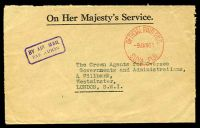 Lot 3557:Suva: red 'OFFICIAL PAID P.M.G./9JAN61/SUVA.FIJI' (Proud #OPD15) on OHMS cover by air to London.