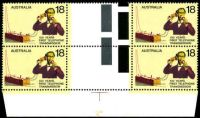 Lot 624 [1 of 2]:1976 Telephone Centenary BW #734 18c gutter block of 4, TLC unit with Red fleck on sleeve [L9/5]