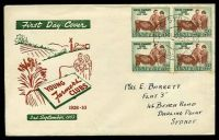 Lot 735:Southern Cross 1953 3½d Young Farmers block of 4 on illustrated FDC, cancelled with GPO Sydney of 3SE53, neat mss address to Darling Point, NSW, some slight toning around edges of stamps.
