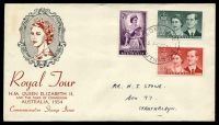 Lot 480:Wide World 1954 Royal Visit set of 3 on illustrated FDC with frame in black & portrait in red-brown, cancelled in Adelaide, neat mss address.