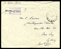 Lot 649:Div. Supply H.Q.P.O. 'DIV SUPPLY H.Q.P.O./14OC40/S.M.1' (Julis, Palestine) on stampless 'OAS' cover to Rose Bay, NSW, with boxed 'PAS