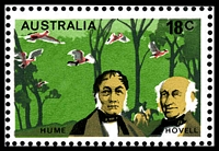 Lot 417 [2 of 3]:1976 Explorers BW #738d 18c Hume & Hovell, TLC block of 12, with Retouch under 'ST' of 'AUSTRALIA' [L1/4], Cat $15+, also showing Weakness in green above 'HUME' [L1/3]