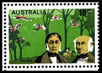 Lot 417 [3 of 3]:1976 Explorers BW #738d 18c Hume & Hovell, TLC block of 12, with Retouch under 'ST' of 'AUSTRALIA' [L1/4], Cat $15+, also showing Weakness in green above 'HUME' [L1/3]