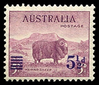 Lot 2657:1941 Surcharges BW #224 5½d on 5d merino.
