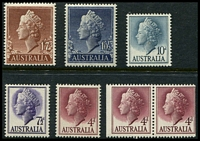 Lot 866:1957-59 QEII Definitives BW #319-24 set of 5 sheet stamps and 4d booklet pair, Cat $14.