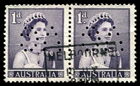 Lot 3097:1959-66 QEII Definitives BW #347 1d slate-purple horizontal pair, with inverted 'VG' perfin.