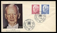 Lot 21903:1964 President Lubke 20pf red & 40pf blue on illustrated FDC cancelled with Bonn commemorative cancel.