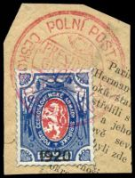 Lot 21540:1920c use of Czech lion 1920 opt, cancelled with double-circle 'POLNÍ POSTA/[posthorn]/PRESIDENT/GRANT/CESKOSLOVENSKY ??