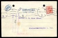 Lot 3673:1916 use of 10ø red Christian X cancelled with 'KJØBENHAVN/8.4.16 6-78/B 1' (B1) machine, on postcard to Kleinschmalkalden, filing holes.