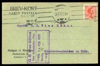 Lot 19236:1916 use of 10ø red Christian X cancelled with machine of 4.2.20, on postcard to Kleinschmalkalden
