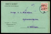 Lot 19166:1916 use of 10ø red Christian X cancelled with 'KJØBENHAVN/8.11.16 8-9 8/K' (A2-), on postcard to Kleinschmalkalden, soiled right edge.