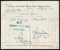 Lot 230:Great Britain: 'Transport and General Workers' Union - Boatmen Section' 'work done' report for Swansea July 19 1934, vertical crease.