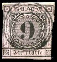 Lot 19940:1851-58 Numeral in Circle Mi #4b 9k black on lilac-rose, Cat €28, 2-margins.
