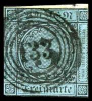 Lot 22434:1858 Numerals Mi #8 3k black on blue, Cat €40, 2-margins