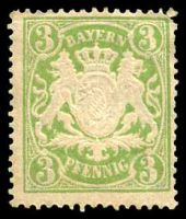 Lot 19964:1888-1900 Arms Wmk Close Horizontal Wavy Lines Mi #54B 3pf yellow-green, yellowish paper, Cat €13, some slight toning.