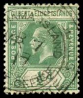 Lot 22889:Abemama: double-circle '[GILBERT & ELLI]CE ISLANDS/[ABE]MAMA ISLAND/MR7/17/[POST] OFFICE/[PROTECTORA]TE', on ½d green KGV.  PO c.1910.