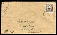 Lot 663:Aust Army P.O. light 'AUST ARMY P.O./10MY45/197.' (Morotai, DEI), on 3d brown KGVI, on air cover to Melbourne, Vic, with light boxed 'AUSTRALIAN/MILITARY FORC[ES]/PASSED BY CENSO[R]