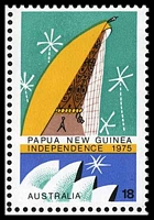 Lot 648 [2 of 4]:1975 PNG Independence BW #728 18c bottom marginal block of 6 with sheet number, also showing Broken brown lines over 'W GU' [L3/5], Green dot over 'ST' [L4/4] & Weakness in green over 'INEA' [L5/5]