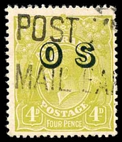 Lot 298:4d Olive Overprinted 'OS' - BW #116(OS) Cat $25.