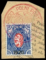 Lot 3687:1920c use of Czech lion 1920 opt, cancelled with double-circle 'POLNÍ POSTA/[posthorn]/PRESIDENT/GRANT/CESKOSLOVENSKY ??