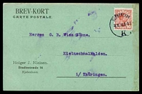 Lot 3991:1916 use of 10ø red Christian X cancelled with 'KJØBENHAVN/8.11.16 8-9 8/K' (A2-), on postcard to Kleinschmalkalden, soiled right edge.