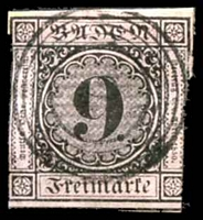 Lot 4070:1851-58 Numeral in Circle Mi #4b 9k black on lilac-rose, Cat €28, 2-margins.