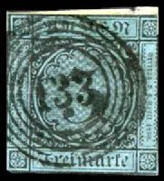 Lot 3476:1858 Numerals Mi #8 3k black on blue, Cat €40, 2-margins
