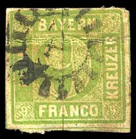 Lot 21477:1850 Numeral in Circle Mi #5 9k green, Cat €18, 4-margins, horizontal crease, aged paper, envelope adhered to reverse.