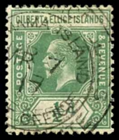 Lot 19980:Abemama: double-circle '[GILBERT & ELLI]CE ISLANDS/[ABE]MAMA ISLAND/MR7/17/[POST] OFFICE/[PROTECTORA]TE', on ½d green KGV.  PO c.1910.