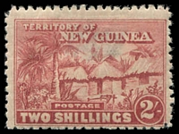 Lot 23452:1925-28 Huts SG #133 2/- brown-lake, Cat £30, hinge thin.