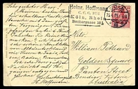 Lot 68 [2 of 2]:Germany: Hölzermann sepia PPC of 'Köln a. Rh.', franked with 10pf red Germania, cancelled with double-circle 'COLN/23.4.13 6-8N/*11c' (A1), to Bendigo, Vic, light vertical crease at right.