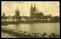 Lot 68 [1 of 2]:Germany: Hölzermann sepia PPC of 'Köln a. Rh.', franked with 10pf red Germania, cancelled with double-circle 'COLN/23.4.13 6-8N/*11c' (A1), to Bendigo, Vic, light vertical crease at right.