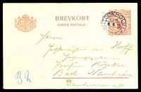 Lot 4611:1914-18 Brevkort With Arms At Left HG #31 10ö red on cream, control number '214', cancelled with double-circle 'STOCKHOLM1/LBR./6.6.15/GST', to Bad Nauheim, Germany.