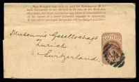 Lot 23284:1879 QV Dates Removed HG #E7 ½d brown, instructions in 5 lines, Huggins & Baker #WP14, to Switzerland.