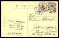 Lot 498 [2 of 2]:Germany: Hölzermann sepia PPC of 'Köln a. Rh./Partie am deutschen Ring.', franked with 3pf brown Germania x2 (Overpaid), cancelled with double-circle 'COLN/23.4.13 5-6N/*11c' (A1), to Bendigo, Vic, some mild insect damage to face of card at top.