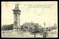 Lot 72:France: Deley black & white PPC of 'PARIS - Pont Alexandre et le Grand Palais', franked with 10c sower, cancelled with light Paris machine, to Bendigo, Vic, edge wear.