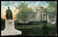 Lot 574 [1 of 2]:United States Of America: E.A. Bishop coloured PPC of 'Lincoln Monument/and the Simmons Library,/Kenosha, Wis.', cancelled with 'KENOSHA/MAR12/7PM/WIS. - 1911 - 4' (A1-) duplex, to Bendigo, Vic.