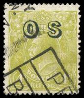 Lot 566:4d Olive Overprinted 'OS' - BW #116(OS) Cat $25, slightly aged.