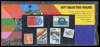 Lot 579:1971 Selected Issues BW #558w Post Office pack, containing 6c orange QEII, 6c floral coil, 6c ANA, 6c Rotary, 6c Stock Exchange & 6c RAAF, Cat $25.