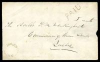 "Lot 20886 [1 of 2]:1861 envelope, cancelled with 'MINDEN/U.C.' (A1-), bearing straight-line 'PAID ""5 cents""' (A1), backstamped with 'BOBCAYGEON/MY21/61/U.C' (C1), 'OMEMEE/MY22/1861"