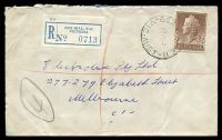 Lot 2764 [1 of 2]:Box Hill: - WWW #90A 'BOX HILL E.11/27MY59/VIC-AUST' (arcs 2½,2) on 1/7d brown QEII on cover to Melbourne with blue C6 registration label. [Rated 3R]  PO 1/2/1861; replaced by Box Hill Business Centre BC c.-/10/1991.