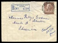 Lot 2770 [1 of 2]:Brunswick: - WWW #90A 'BRUNSWICK/28JA58/VIC.' (arcs 5,5), on 1/7d brown QEII, on cover with blue C6 registration label, backstamped with '[SHEP]PARTON/345P29JA58/VIC-AUST' (A2) arrival, backflap missing. [Rated R]  PO 1/1/1854.