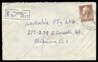 Lot 2771 [1 of 2]:Brunswick: - WWW #190B 'BRUN[SWICK]/8A25AU59/VIC-AUST.', (small decade wheel, arcs 3½,3½, - A1- backstamp), on 1/7d brown QEII, on cover to Melbourne with blue C6 registration label. [Rated 3R]  PO 1/1/1854.