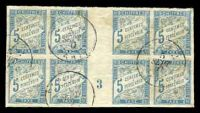 Lot 22348:1893 New Colours SG #D73 5c light blue, gutter block of 8 with sheet number '3', some toning. calncelled in Tahiti