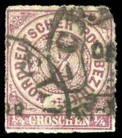 Lot 20067:1868 Numeral in Circle Mi #1a ¼g brown-violet, 3-margins, Cat €15.