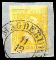Lot 4073:1858-60 Wilhelm IV Quadrille Background Mi #12a 3sgr yellow-orange, Cat €18, cancelled with double-circle 'MAGDEBURG/11/12/[?]